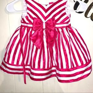 Girls Pink and White Big Bow Dress